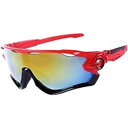LAAT Gafas de Sol, Protección Gafas para Deportivas Polarizadas, La Mejor Opción para el Ciclismo (Rojo)