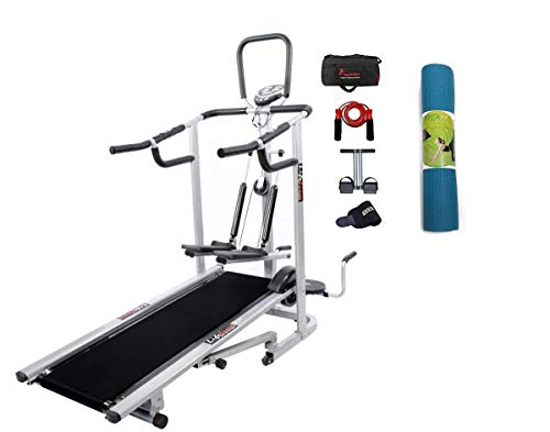 Lifeline Exercise Deluxe Treadmill Machine for Walking and Jogging at Home | Bundles with Yoga Mat 6 mm and Accessories (5 Items)