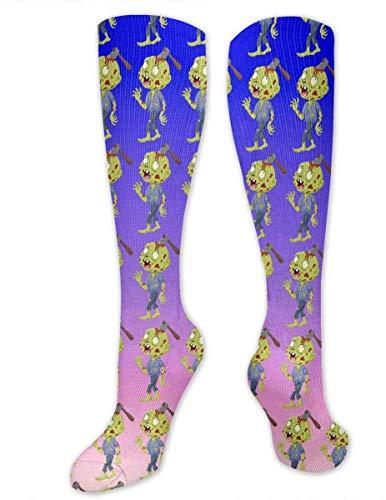 Calcetines hasta la rodilla Zombie de dibujos animados con hacha en la cabeza Medias hasta la rodilla Calcetines atléticos Calcetines de regalo personalizados para hombres Mujeres Adolescentes Niñas