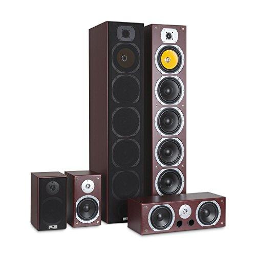 auna V9B Surround Altoparlante • Set diffusori • Sistema audio surround • Sistema Home Theatre • Chassis reflex granuloso • RMS da 400 Watt • frequenza: da 20Hz a 20kHz • montaggio a parete • Mogano