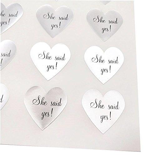 Sie sagte ja Herz Aufkleber von Once Upon Supplies, Etiketten und Dichtungen für Hochzeitseinladungen, Save the Daten, Bridal Dusche Einladungen, 1,5x 1,5, 48Aufkleber 48 Pcs silber