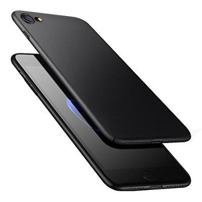 POOPHUNS Cover per iPhone 8/iPhone 7, Custodia per iPhone 8/iPhone 7 in Plastica Dura PC, Ultra Sottile e Anti-Graffio, Cover Ultra Slim per iPhone 8/iPhone 7 Anti Scivolo(4.7 Pollici)-Nero