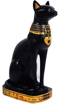 Escultura KiaoTime con figura de deidad felina del antiguo Egipto