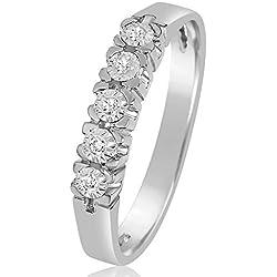 Bague Fiançailles Femme Or et Diamants - Or Blanc 9 Carats 375 ♥ Diamant 0.03 Carats