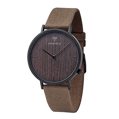 KERBHOLZ Holzuhr - Elements Collection Henri analoge Unisex Quarz Uhr, Naturholz Ziffernblatt, Canvas Armband, Ø 38mm, Walnuss Olive