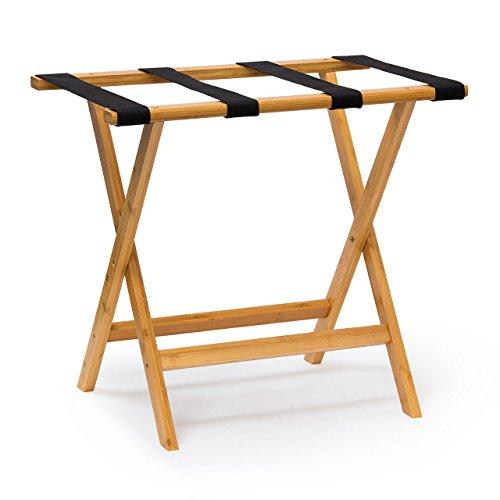 Relaxdays Kofferständer Holz HxBxT 50 x 60 x 37,5 cm Kofferbock aus Bambus mit 4 stabilen Gurten als Kofferablage oder Gepäckablage für Hotels oder Pensionen als Kofferhocker Geschäftsreisen, natur
