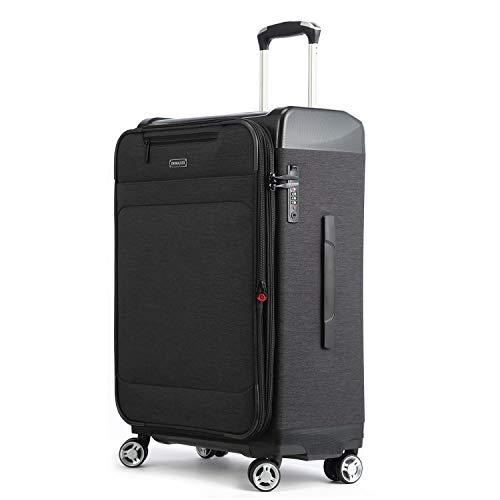 UNITRAVEL Koffer Weich Erweiterbar 53 Zentimeter 32 Liter 4 Räder Schwarz TSA Schloss