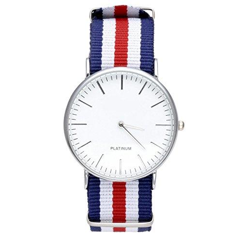 Jsdde, orologio Ginevra, unisex, in nylon tessuto con cordoncino, da polso, al quarzo, analogico, cronografo, colore rosso, bianco e blu