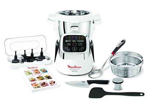 Moulinex Cuisine Companion XL HF8058 - Robot de Cocina XL de 4,5 L de Capacidad con 12 Programas Automáticos y 6 Accesorios, Pantalla de Fácil Lectura y Libro de Recetas Incluído
