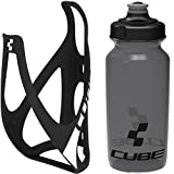 Cube HPP Cage - Matt Black/White & Icon Bottle - Black, 750ml / Lightweight Bicycle Cycling Cycle Bike MTB Mountain Road Water Drink Flask Bidon Bracket Mount Holder Carrier Kit Part Set Accessories