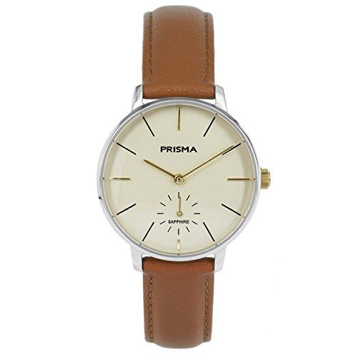 Prisma Damen Armbanduhr Retro Corum, Edelstahl silber mit Analog Quarzwerk, 5 ATM und Saphirglas P.1440