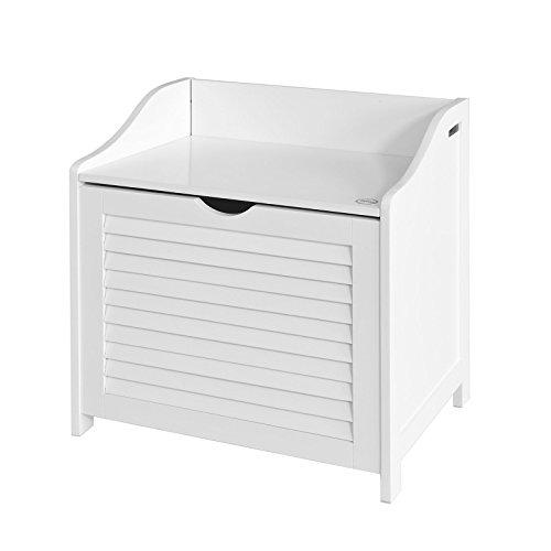 SoBuy FSR40-W Wäschetruhe Wäschebank Wäschekorb in weiß Wäschesammler mit Deckel und herausnehmbarem Wäschesack BHT ca.: 50x53x35cm