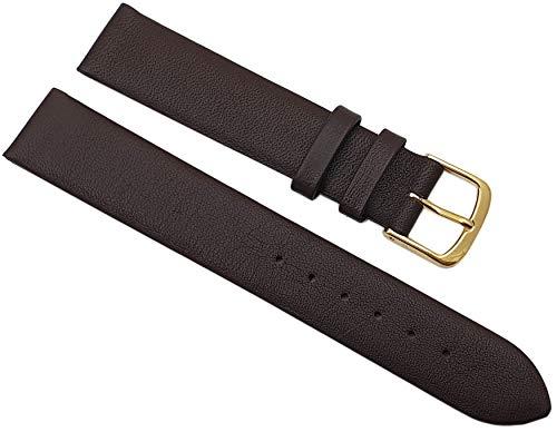 MyLedershop - Cinturino per orologio in pelle di vitello, 17 mm, Made in Germany, con fibbia ad ardiglione dorata, design MJ, istruzioni di montaggio incluse