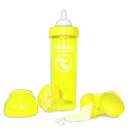 Twistshake Biberón anticólicos con mezclador - Amarillo - Talla:330ml