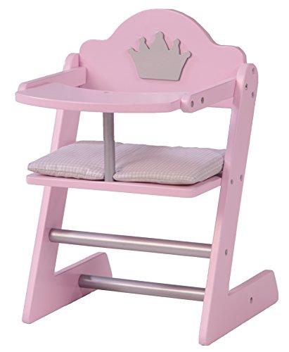 roba Seggiolone per Bambole della Collezione Mobili per Bambole 'principessa Sophie', Legno Laccato Rosa/Argento con Stmpato Motivo Corona