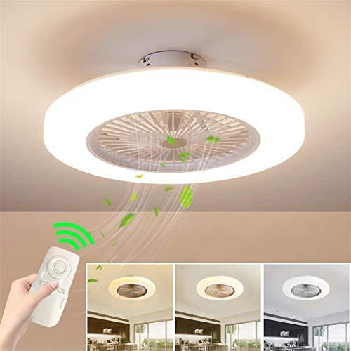 YZSJ Moderno Plafoniera LED Ventilatore A Soffitto con Luce E Telecomando Silenzioso Ventilatori...