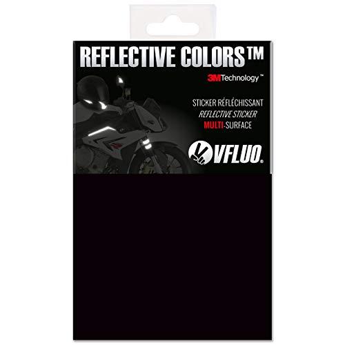 VFLUO 3M Reflective ColorsTM, Kit de Pegatina Retro Reflectante a Cortar para Casco de Moto/Motocicleta/Bicicleta, 3M TechnologyTM, Hoja de 10 x 15 cm, Negro