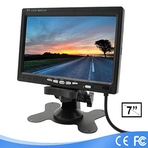 Lychee - Monitor per telecamera di retromarcia con supporto, LCD, a colori, TFT, 7', rotazione schermo, 2 ingressi AV con un telecomando IR