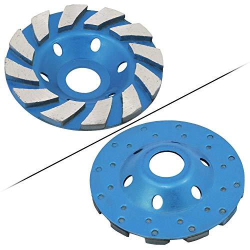 Elegante y refinado Muela de diamante, Turbo de diamante Muela de molienda concreta Muela de disco de tres filas Turbo Cup Amoladora angular para Segadora de ángulo 12 Segs Heavy Duty (Azul 12segs B)
