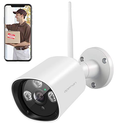 Telecamera WiFi Esterno Senza Fili,APEMAN 1080P Videocamera Sorveglianza con Rilevazione Movimento Telecamera IP con IP66 Impermeabile