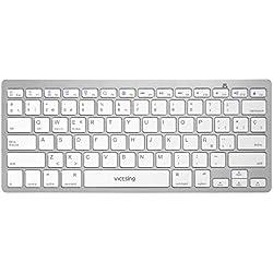 VICTSING Teclado Bluetooth Inalambrico Ultra-delgado Mini para Windows, Mac, iOS, Tablet, Android, iPad, Movil-Plata (Teclado Qwerty Español)