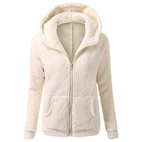 QN Women's Winter Warm Coat,Winter Women Faux Fur Jackets, Women Long Sleeve Lapel Warm Outwear Cardigan Overcoat Jacket Outfit (3XL, Apricot)