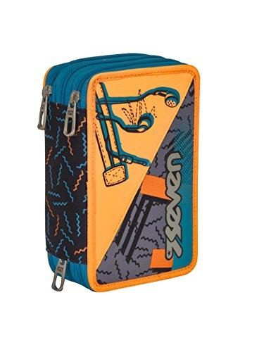 ASTUCCIO scuola SEVEN - SWAG BOY - 3 scomparti - pennarelli matite gomma ecc.. Arancione Azzurro