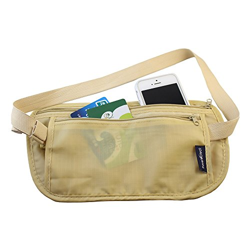 PackNBUY BEIGE Secure Travel Wallet Waist Belt