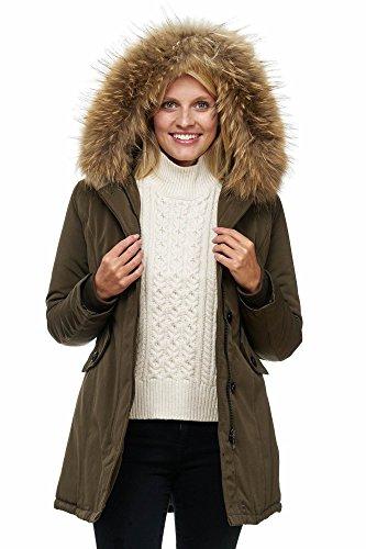 Elara Damen Winterparka   Jacke mit Echt Pelz   Echt Fell Kapuze   Designer  Damenjacke   Gefütterte Outdoor Mantel   chunkyrayan, Größe 40, Farbe  Marine ... 3d29151754