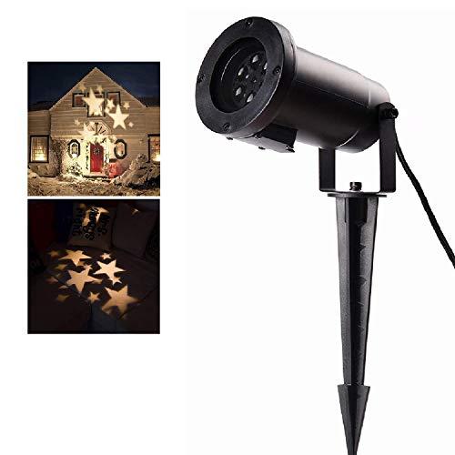 SALCAR LED Effetto Luce per Feste con Stelle Bianche Calde, Motivi dinamici, Lampada da Giardino LED...