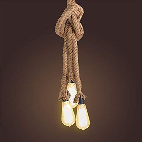 LEDMOMO 1 Mt E27 Drei Kopf Dicken Hanfseil Vintage Hanf Lampe Anhänger Seil Pendelleuchten für Cafe Restaurant Home Style Land Dekoration