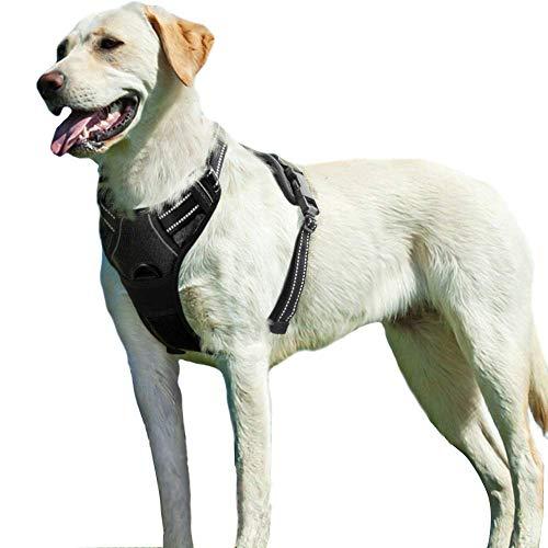 Eagloo Arnes de Perro Antitirones Cómodo Chaleco Ajustable Correa al Cuello y Pecho para Perros Labrador Material Duradero Transpirable con Cinta Reflectante a Ejercer al Exterior Tamaño XL/Negro