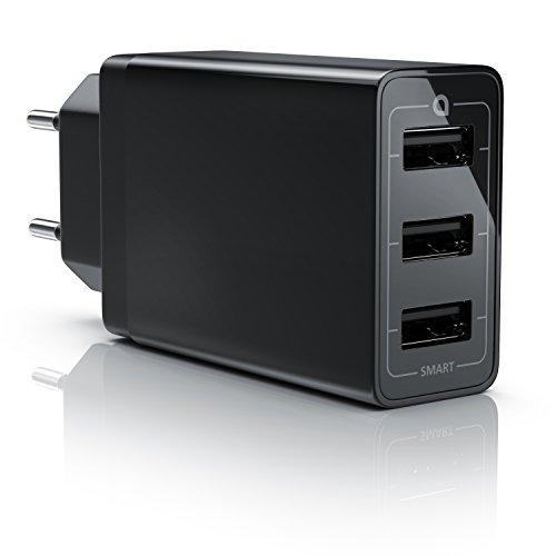 aplic 30W Caricabatterie Alimentatore USB 3 Porte - con Smart Charge e Carica Solida - 6000mA -...