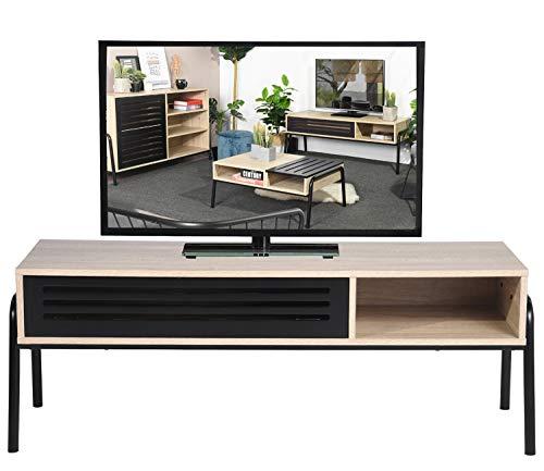 Mobile TV, mobile TV moderno 125 cm con cavità nera, ripiani porta TV in legno per soggiorno,...