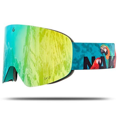 NAKED Optics Skibrille Snowboard Brille für Damen und Herren - Verspiegelt mit Magnet-Wechselsystem - Ski Goggles for Men and Women (PapageiL, inkl. Schlechtwetterglas)