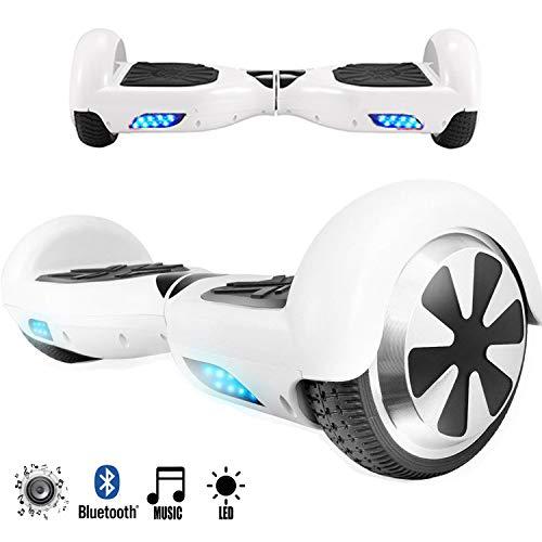 Magic Vida Skateboard Électrique Bluetooth 6.5 Pouces Blanc avec LED Puissance 700W Auto-Équilibrage pour Enfants et Adultes Gyropode 2 Roues