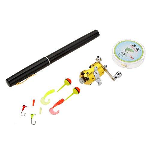Docooler, set tascabile composto da mini canna da pesca a forma di penna stilo, con mini ami, mini mulinello, mini esche e lenza, portatile, in lega di alluminio, nero