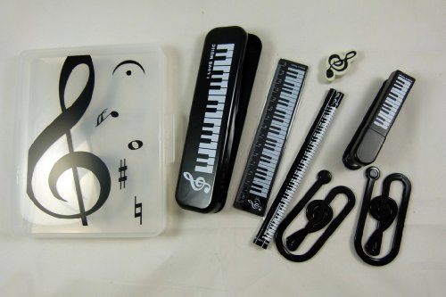 Musica a tema Set di cancelleria - astuccio tastiera Bianco, righello, cucitrice, clip di carta,...