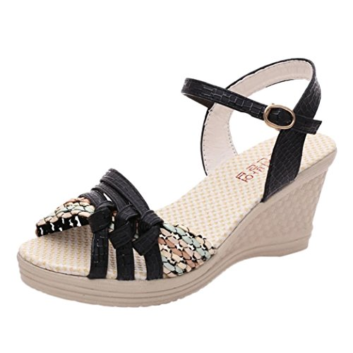 50b089dd9651b0 Sunday Women Summer Fashion Soft High Heels Sandals Ladies Cute Buckle  Strap Beach Flip-flop Shoes Sandals Casual Holiday Flat Platform Toe Shoes  for Women ...