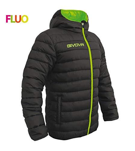 Giosal Giubbotto Invernale GIVOVA Olanda Allenamento Sport Relax Cappuccio Imbottito Nero/VerdeFluo-XL