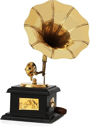 Fashion Bizz Sparkle Square Gramophone Showpiece - 23 cm (Brass, Brown, Gold)