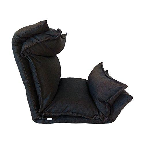 Rebecca Mobili Chaise de Méditation Siege de Sol Métal Noir Polyester Pliable Balcon Maison (Cod. RE6198) 26