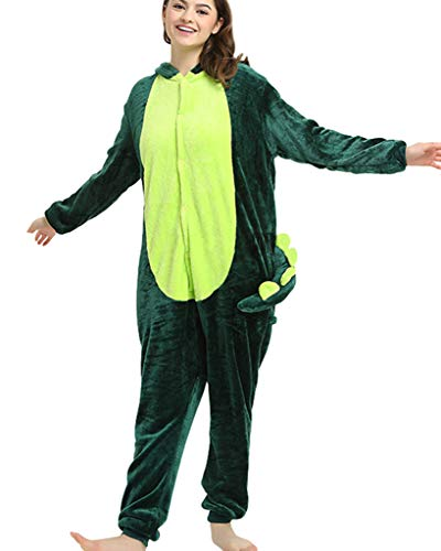Pijamas de una Pieza Unisexo Adulto Cosplay Traje Disfraz Animal Pyjamas Ropa De Noche Halloween y Navidad Dinosaurio Verde M