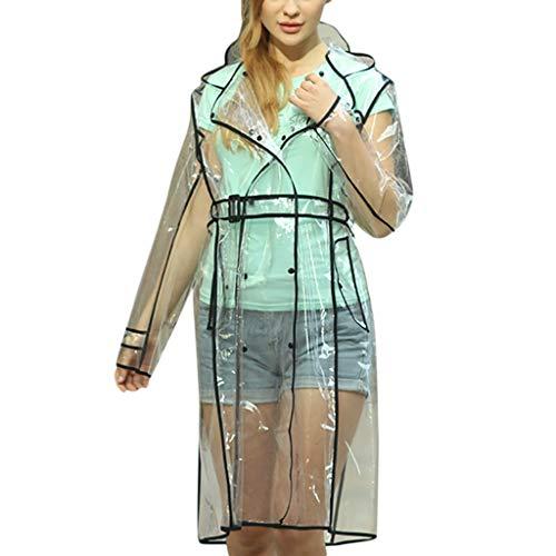 Toamen Leggero Poncho Pioggia Giacca Impermeabile Outwear Impermeabile con Cappuccio per Uomo Donne Adulti con Tasche(Nero 4,OneSize)