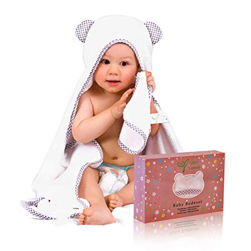 Premium Kapuzenhandtuch Baby/Babyhandtuch 100x70 cm – inkl. GRATIS Waschlappen -GEJO Baby Erstausstattung/Kaputzentuch – Baby Badehandtuch mit Kapuze für Jungen & Mädchen