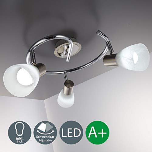 Lampada da soffitto a LED con 3 luci orientabili, forma a spirale, per soggiorno o camera da letto,...