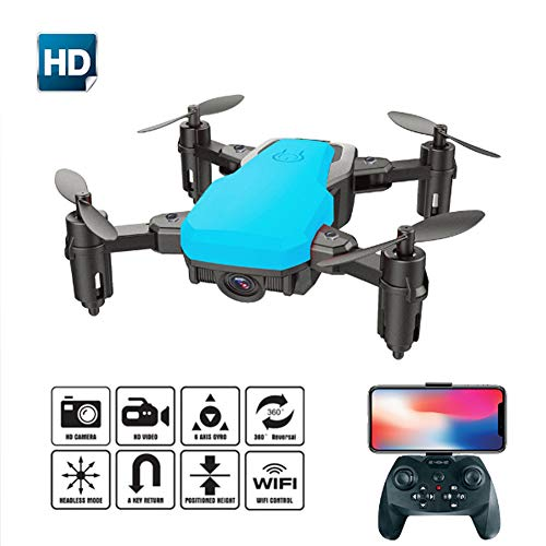 Creator-Z Drone con Videocamera HD 720P, Drone 2.4Ghz Serie 6 Giroscopi A 6 Assi 4 Canali, modalità Senza Testa, Funzionamento A Un Pulsante, La Scelta Migliore per Bambini E Principianti, Blu,Blu