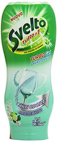 Svelto - Turbo Gel Lavastoviglie, Antiodore, con Estratto di Limone - 2 flaconi da 480 ml [48...