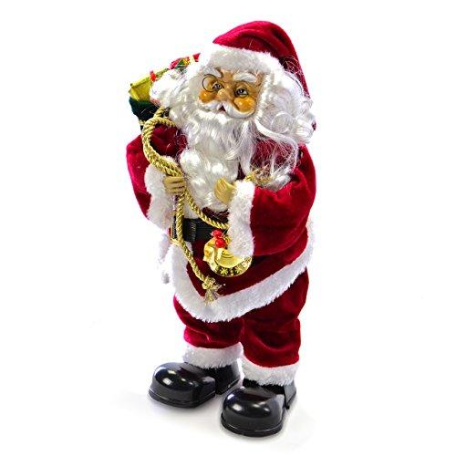 Weihnachtsmann singend tanzend Santa Claus animierter Nikolaus Weihnachten Deko-Figur 35 cm Batterie Weihnachtsdeko Innenraum-Deko Fensterdeko Xmas