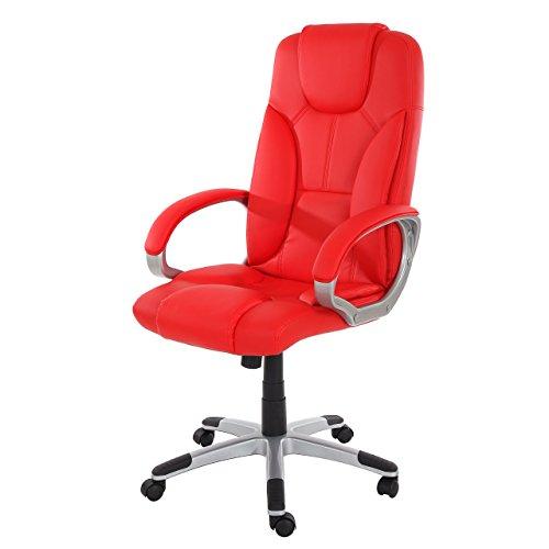 Poltrona ufficio Basel ecopelle design classico 74x72x115-125cm ~ rosso